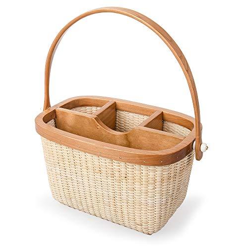 - Teng Tian Basket Rattan Weaving Tableware Tableware Box, Flatware Caddy Basket w/Fork Ornament