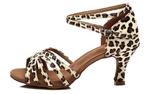 Tda Damesschoenen Klassieke Comfort Uitlopende Hak Satijn Salsa Tango Samba Latin Schoenen 7.5cm Leopard