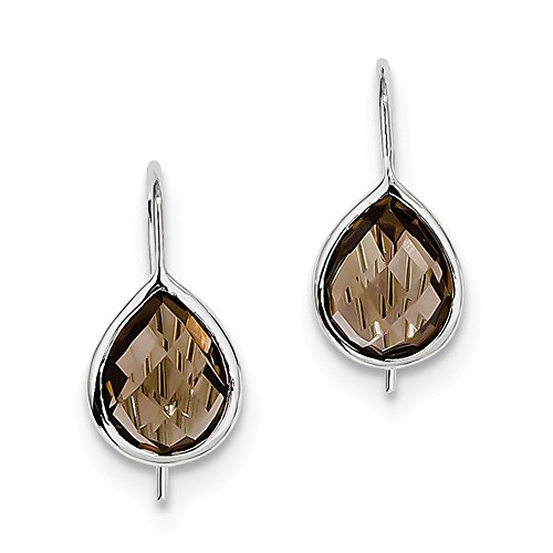 925 Sterling Silver Rhodium Plated Smoky Quartz Teardrop Earrings (20mm x 9mm)