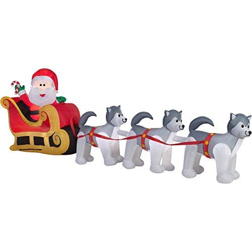 Huskies Santa - ghi Christmas Inflatable Santa In Sleigh Pulled By Husky Dog Team By Gemmy