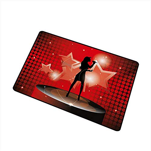 Popstar Party Front Door mat Carpet Young Singer Woman on Stage Performing with Star Figures Dotted Backdrop Machine Washable Door mat W19.7 x L31.5 Inch,Red Coral Black
