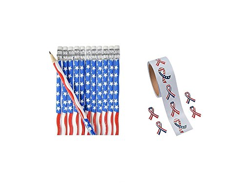 PATRIOTIC Party Supplies - 72 US Flag PENCILS & 200 USA Stickers - FAVORS - Parades - Classroom - AMERICAN Red White & Blue