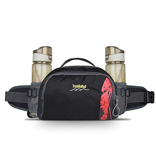 2 Bottle Fanny Pack - BARHOMO Running Fanny Pack with Bottle Holder Outdoor Sport Waist Belt Pack Men Woment Hiking Water Drink Walking Pocket for Phone,Wallet, Sunglasses,Travel Cosmetics (2 Water Bottle-Black)