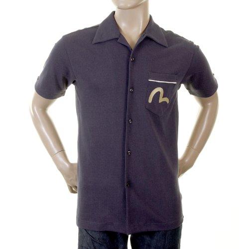 EVISU Ink 24hr Denim Laundry Early Original Genuine Rare ES03MSS03 J101 Pique Bowling Shirt ()