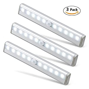 Wonyered Motion Sensor Closet Lights 3-Pack 10 LED Automatic Activated Cabinet Lighting Wireless Battery Powered Night Light Bar with Magnetic Strip Tapes for Wardrobe/ Stairs/ Basement/ Kitchen