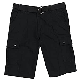 One Tough Brand(OTB) Mens Belted Cotton Cargo Short (Black