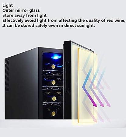 Vinotecas 12 Botellas Nevera Para Vinos Zonas De Temperatura 10-18 ° Pantalla Táctil, Pantalla Digital, Iluminación Interior LED, Funcionamiento Silencioso Y Sin Vibraciones, 4 Estantes