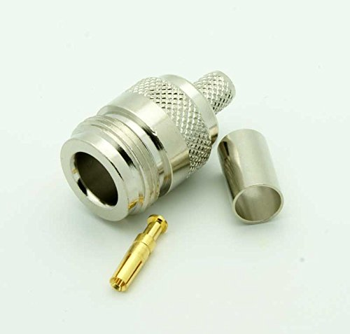 High Value Pure brass N Female 3 Piece Crimp Connector for RG58 RG142 RG223 LMR195 Type cable 2pack