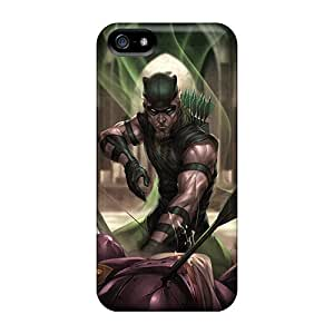 Shock Absorption Cell-phone Hard Covers For Apple Iphone 5/5s With Allow Personal Design HD Green Arrow I4 Series JacquieWasylnuk