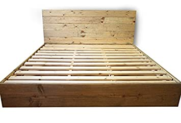 Wooden Platform Bed Frame And Headboard / Modern And Contemporary / Rustic  And Reclaimed Style /