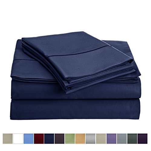 Set Quilt Sheet - 800 Thread Count 100% Long Staple Egyptian Cotton Sheet Set, Twin Sheets, Luxury Bedding, Twin 3 Piece Set, Smooth Satin Weave,Navy Blue, by Audley Home