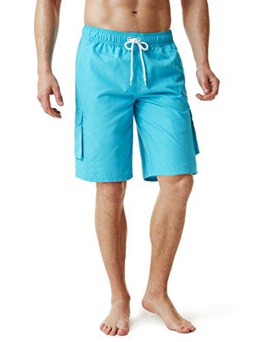 TSLA Men's 11 Inches Swimtrunks Quick Dry Water Beach, Solid(msb01) - Aqua, - Shorts Capri Mesh