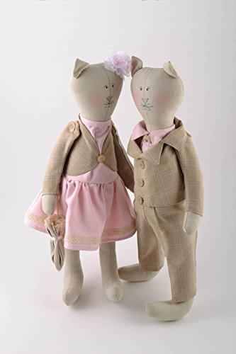 Set Of 2 Designer Handmade Linen Fabric Tender Soft Toys Cat Boy And Cat Girl by MadeHeart | Buy handmade goods