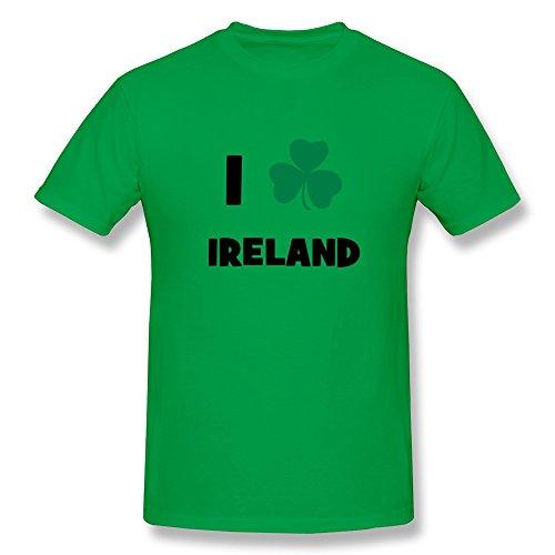 SHMUY Men's Love Ireland Cotton Round Collar T Shirt,S,ForestGreen
