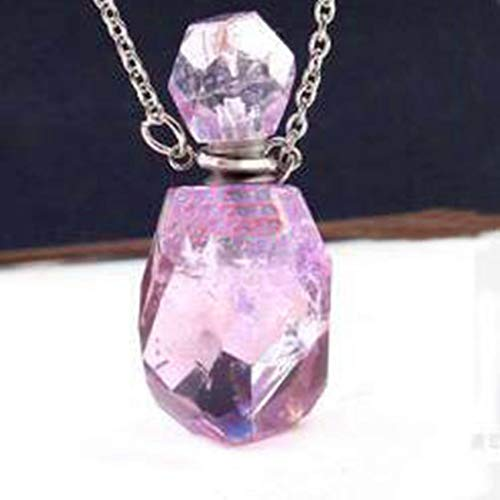 Stainless Steel Perfume Bottle Amethysts Stone Section Pendant Rose Pink Quartz Necklace Vintage Jewelry ()