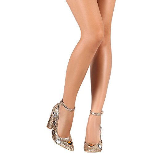 Cape Robbin Femmes Orteil Pointu Glitter Embroché Chunky Talon Haut Cheville Sangle Pompe Chaussures Or