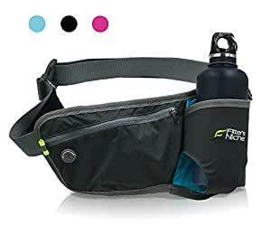 Fitters Niche Hydration Running Belt Waist Pack, Adjustable Elastic Band, Water Bottle Holster Carrier Fit 10-30 Ounce 300-700 Milliliter Bottle , Fits Max. 6 Inch Phones, Sky Blue