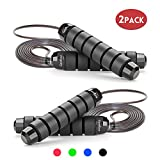 GoxRunx Jump Rope Tangle-Free with Ball Bearing Rapid Speed Jump Ropes Cable, Skipping Rope Jumping Rope with Memory Foam Handles for Workout Exercise Fitness for Women Men Kids-2 Pack