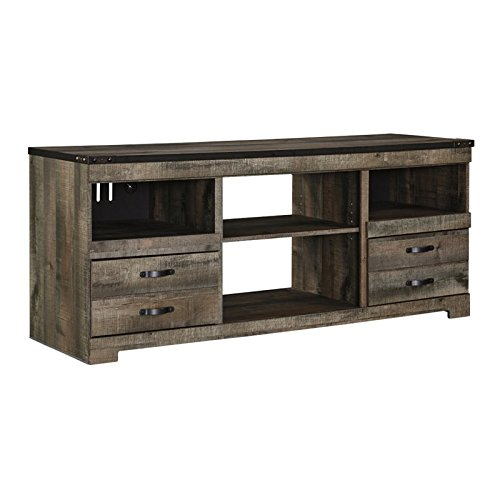 Ashley Trinell W446-68 63' Large TV Stand with Fireplace Option Adjustable Center Shelf 2 Drawers and Side Roller Glides in