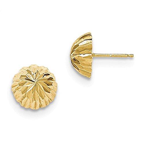 m Multi Cut Half Ball Button Post Earrings ()