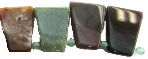Fancy Jasper Necklace - Bead Collection 40307 Multi Fancy Jasper Semi Precious Trapezoid Beads, 5-Inch