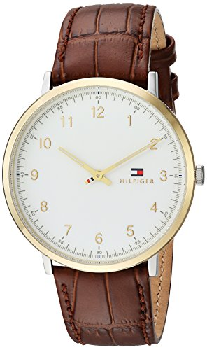 Tommy Hilfiger Men's Sophisticated Sport Stainless Steel Quartz Watch with Leather Calfskin Strap, Brown, 20 (Model: 1791340)