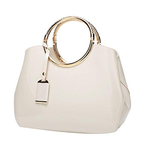 Bolso De Mujer De Charol Estructurado Con Cúpula Satchel Bag Zip Multicolor blanco