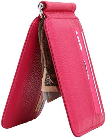 Easyoulife RFID Bifold Money Clip Wallet Genuine Leather Slim Card Holder Wallet