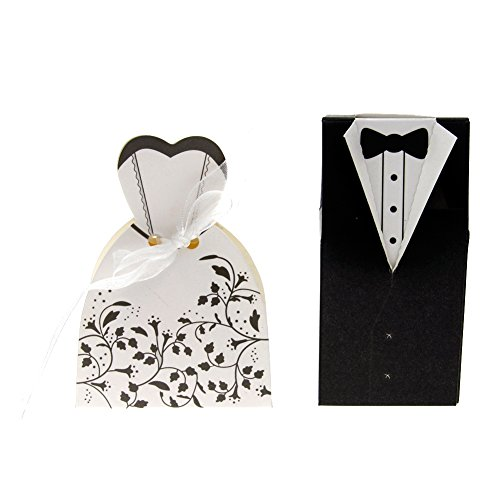 Eachbid 100Pcs 50 Pairs Bride Tuxedo Dress Gown Wedding Ribbon Candy Boxes