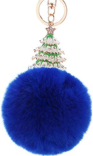 女性のためのPUのクリスマストナカイFurballキーホルダーラインストーンポンポンバッグのチャームペンダントクリスタルカーキーチェーンキーリングアクセサリーガールズ財布のハンドバッグトートバックパックの携帯電話の装飾 花が咲く