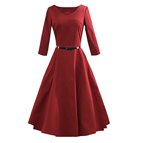 LUOUSE-Womens-Vintage-1960s-34-Sleeve-Rockabilly-Party-Wedding-Bridesmaid-Dress