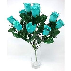 "18"" Rosebud Bush with Gyp Silk Wedding Flowers Home Decor 14 Roses 22"