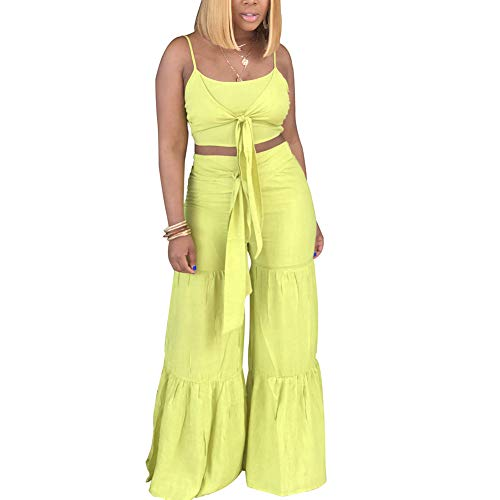 Women's Two Piece Outfits Jumpsuits Spaghetti Strap Tie Up Crop Top and Wide Leg Palazzo Pants Set Clubwear Yellow M ()