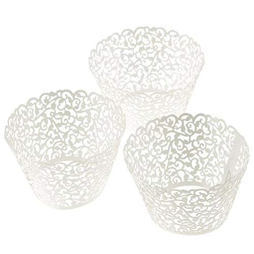 aliveGOT 108Pcs Cupcake Wrappers | Artistic Bake Cake Paper Filigree Little Vine Lace Laser Cut Liner Baking Cup Wraps Muffin CaseTrays for Wedding Party Birthday Decoration ()