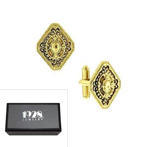 Shaped Diamond Cufflinks (1928 Jewelry Boxed Gold-Tone Diamond Shaped Cuff Links)