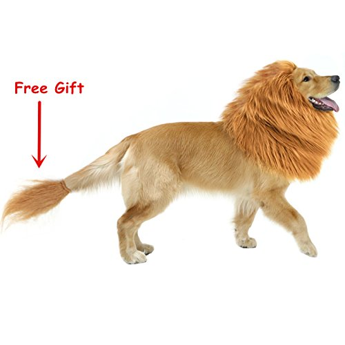 Make Predator Costumes (CPPSLEE Halloween Lion Mane Wig Costume - Make Your Dog Lion King - Adjustable Washable Comfortable Fancy Lion Hair Dog Clothes Dress for Halloween (E-Brown With Tail))