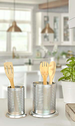 Stainless Steel Kitchen Utensil Holder Caddy - Silverware Cutlery and Cooking Utensil Organizers