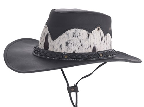 LAMBLAND Men's Genuine Leather Cowboy Hat with Genuine Cow Hide Detail in Black - Size (Genuine Leather Cowboy Hat)