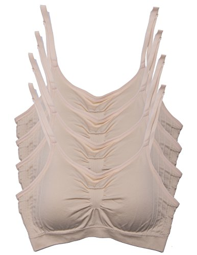 Kalon 4 Pack Nylon Spandex Removable Pads Comfort Bras Ext Sizes (M/L, 4PK Beige)