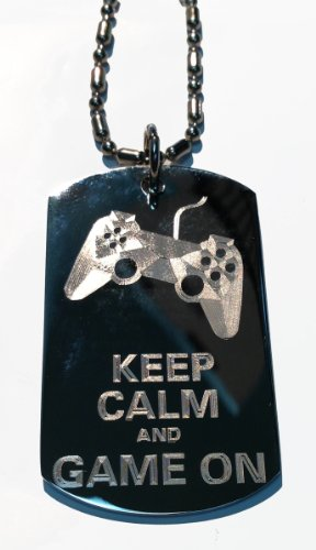 Keep Calm & Game On Controller - Military Dog Tag, Luggage Tag Metal Chain Necklace