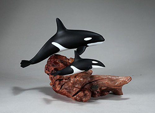 ORCA & CALF KILLER WHALE Sculpture from JOHN PERRY 10in high Statue Airbrushed