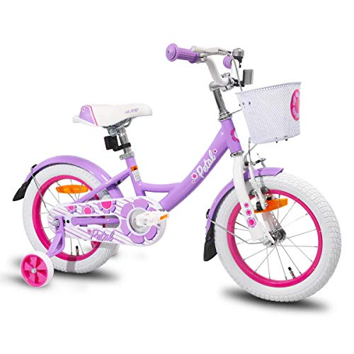JOYSTAR Kids Bike with Hand Brake for 3 4 5 Years Girls,14 Inch Toddler Bike with Training Wheels for Child, Purple Girls Bicycle