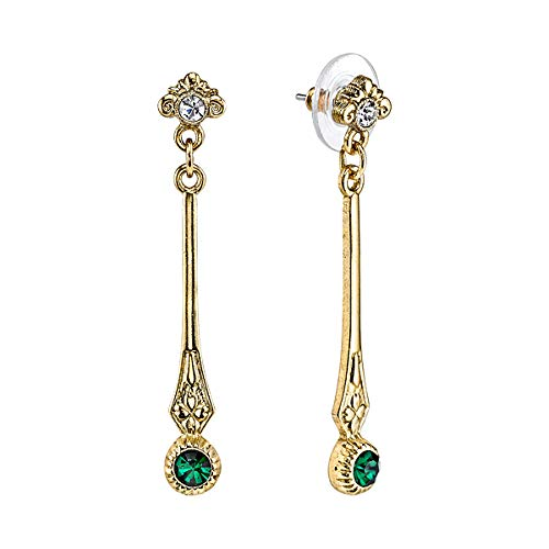 Downton Abbey Jeweled Heirlooms Carded Gold-Tone Emerald Green Linear Crystal Post Top Drop Earrings