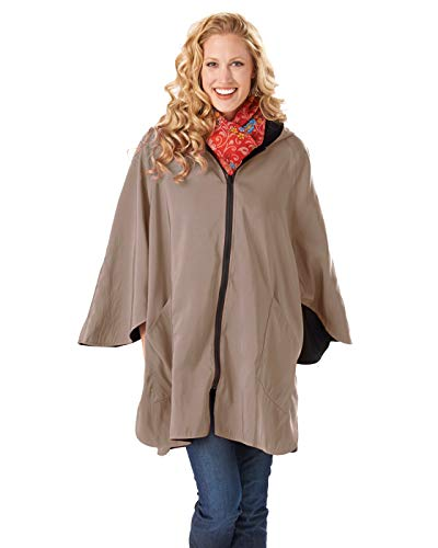 (Janska Patty-Cape -Women's Reversible Rain-Resistant Poncho - Airy Sleeves and Pockets - One Size, Jet/Nutmeg)