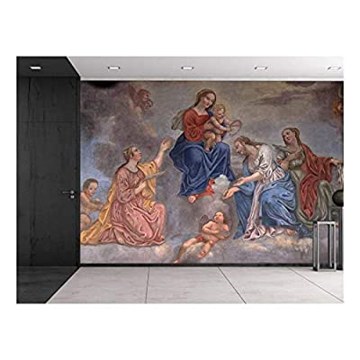 Magnificent Expertise, Franciscan Fresco Slovenia Virgin Mary and Baby Jesus Surrounded by Saints and Angels Catholic Christianity Wall Mural, it is good