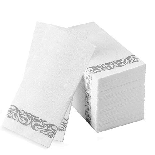 Guest Towels Hand Towels Disposable Linen Feel Cloth Like Airlaid Paper Dinner Napkins for Luncheon Dining Room Table Banquet Wedding Reception Party Events Nice Elegant Decorative Bulk Silver 50 Pack ()