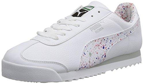 Puma Menns Roma Splatter Blonder-up Mote Sneaker Hvit / Hvit / Grå Fiolett