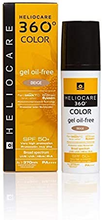 Heliocare 360° Color Gel Oil Free Protector solar acabado mate con color SPF 50+, 50 ml - Beige