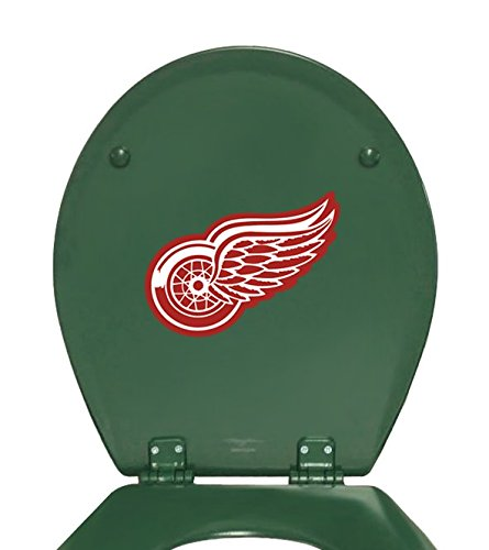 The Furniture Cove New Molded Wood Forest Green Finish Toilet Seat featuring Detroit Red Wings NHL Team (Nhl 2 Piece Wood)