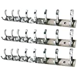 Smart Shophar Pack of 3 Stainless Steel Premium Fescue Dual Edge 8 pin Cloth Hanger Bathroom Wall Door Hooks, Silver